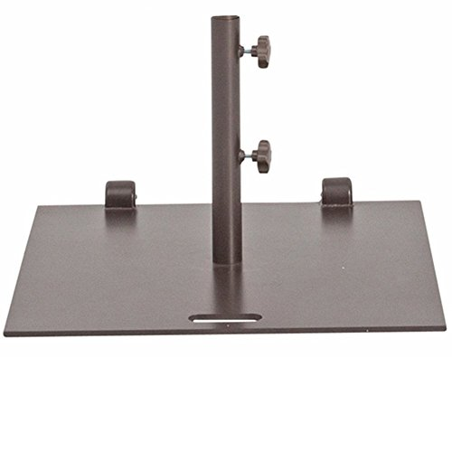 Abba Patio 53 lb. Square Steel Market Patio Umbrella Base Stand with Wheel and 2 Separate Poles for 1-1/2 and 1-7/8 Diameter Umbrella, 24L x 24W, Brown