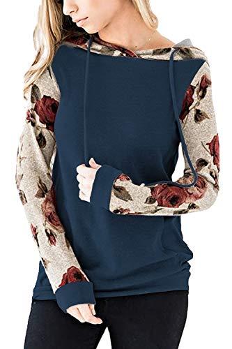 Twinklady Women's Hoodies Long Sleeve Floral Pullover Casual Sweatshirt Pockets (Navy Blue, M)