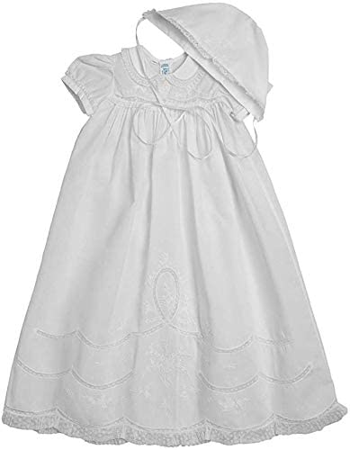 Feltman Brothers Girls Scalloped Lace Special Occasion Gown Set, 6-9M White