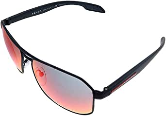 Prada Linea Rossa PS 51VS DG09Q1 Black Metal Pillow Sunglasses Red Mirror Lens