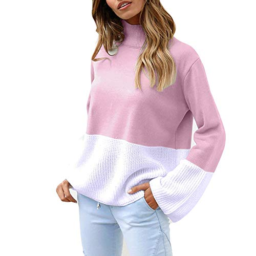rocicaS Women's Sweaters Patchwork Color Block Knit Tunic Top Long Sleeve Loose Sweater Blouses Pullover Tops