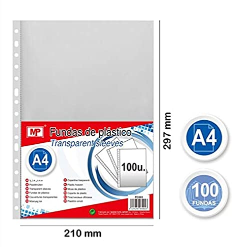 transparente 100 FUNDAS 40 micras MPM Fundas multitaladro folio-cristal