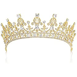 SWEETV Royal Wedding Crown CZ Crystal Pageant Tiara Headpiece Women Hair Jewelry, Gold+Clear