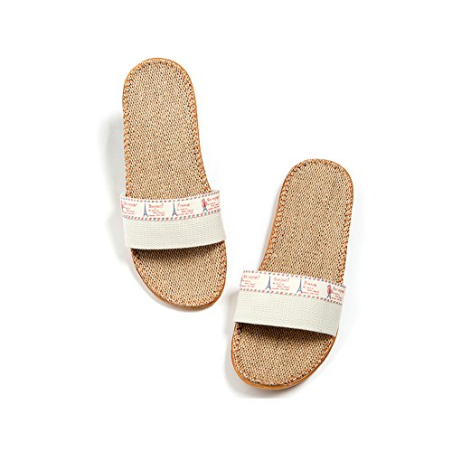 Suction Linen Four 3 Flax Cool Sweat Odor Shoes Cotton beige Proof TELLW Seasons Fall Home Linen Slippers Sandals Winter Indoor Summer Spring Couples pFqwCCx5v