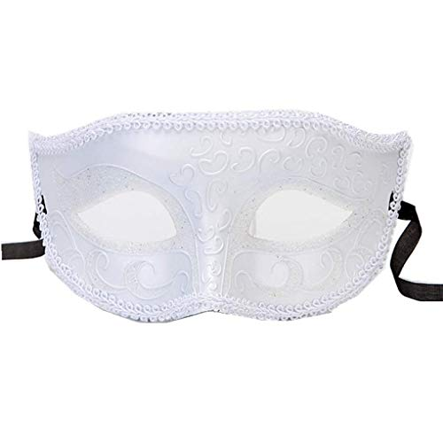 Halloween Costume Half face Eyes Sequin mask Party Activity Cosplay Props (White)]()
