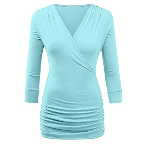 Clair Manches Mode Blouse suprieure Occasionnelles JIANGfu de Longues Papier Chemisier drape Femmes Chemisier T Quarts Bleu Femme Solide Trois Avant Shirt 0qxaqRIp
