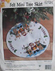 (Caroling Bears Mini Tree Skirt Kit HOBBY KRAFT felt tree skirt kit #9233 )