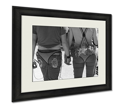 Ashley Framed Prints A Happy And Colorful Couple Holding Hands At Indy Pride, Wall Art Home Decoration, Black/White, 26x30 (frame size), AG6414781