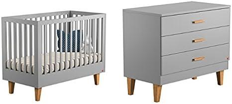 Vox Pack Gris Cuna 60 x 120 cm + colchón + cómoda Cambiador 3 tioirs Collection Lounge: Amazon.es: Hogar