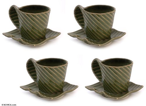 NOVICA Leaf And Tree Ceramic Cups & Saucers, Green, 9 oz, 'Rainforest' (Set for 4) by NOVICA