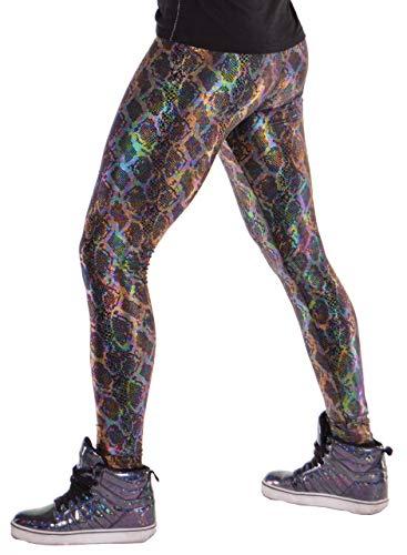 (Revolver Fashion Black Snake Serpent Animal Meggings USA Made Men's Leggings (X-Large, Snake Oil Black))