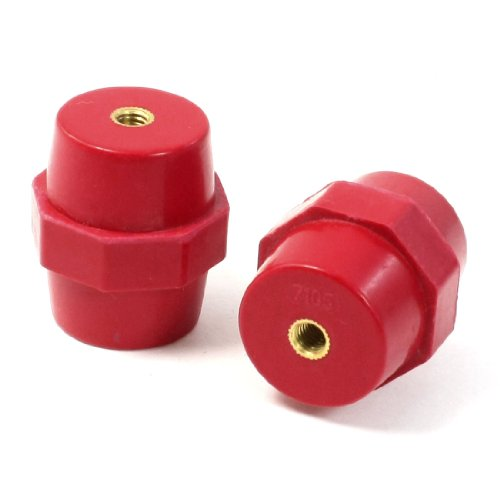 uxcell 6mm Threaded Red Bus Bar Support Insulation Insulator 38mm Height 2 Pcs
