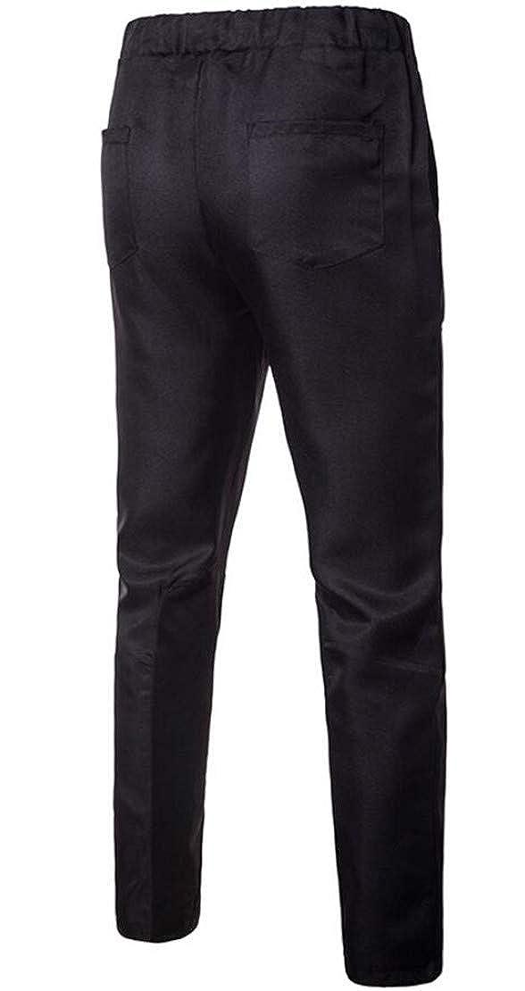 Frieed Mens Straight Leg Elastic Waist Basic Drawstring Plain Long Pants