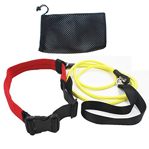 YYST Swim Bungee Training Belt Swim Resistance Belt Swim Exerciser Belt Swim Tether (One Waist Belt, One Bungee Cord, One Loop) Storage Mesh Bag