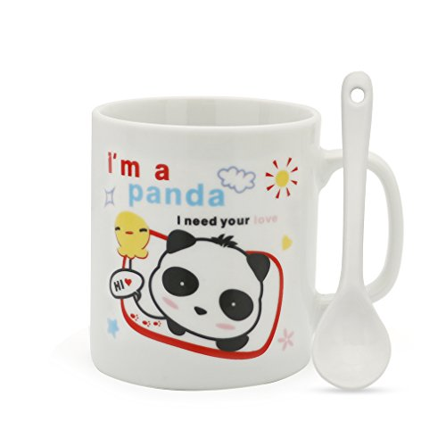 Child Ceramic (Teagas Mini Cute Panda Ceramic Coffee Mug with Spoon for Children Kids Cousins 200ML)