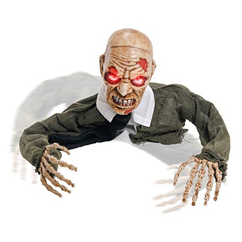 Halloween Zombie Graveyard (Halloween Haunters Animated Skeleton Zombie Groundbreaker Graveyard Prop Decoration - 3/4 Life-Size, Moving Head & Arms, Scary Screams, LED Eyes - Battery Operated - Haunted House, Graveyard,)