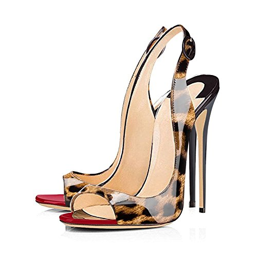 Peep da a Leopardo Donna Spillo con Fibbia Tacco Caviglia Cinturino Toe Scarpe Sandali Slingback elashe 5qTZtxx