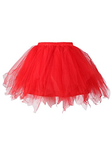 Satinior Vintage Petticoat Crinolines Tutu Ballet Bubble Skirts Adult Tulle Skirt (XXL - XXXL Size, (Red Adult Tutu)
