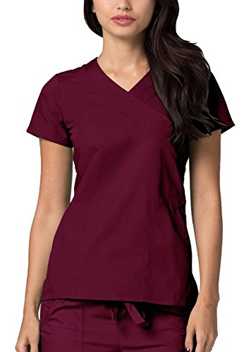 Adar Universal Double Mock Wrap Top - 2630 - Burgundy - - Back Tie Wrap Mock