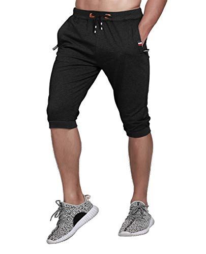 3/4 Yoga Pant - YSENTO Men's 3/4 Joggers Capri Pants Gym Workout Shorts Yoga Running Training Pants Black 34