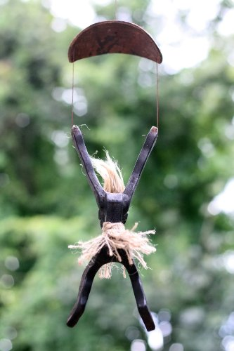 Handmade-Wooden-Primitive-Tribal-Tiki-Statue-Skydive-Parachute-Bar-Handcrafted-Gift-Home-Decor