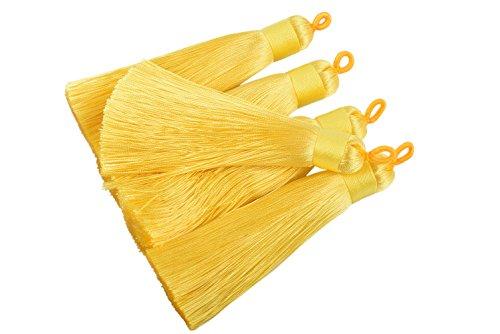 KONMAY 10pcs 3.4''(8.5cm) Handmade Imitation Silk Tassels with Hanging Loop for Jewelry Making - Yellow Tassel