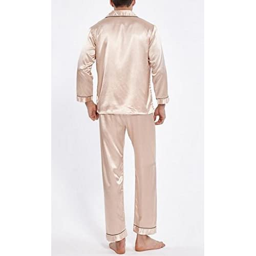 LD Mens Silk Stain Soft Long Sleeve Shirt and Pants Sleepwear Pajamas  Homewear low-cost 84c330f75