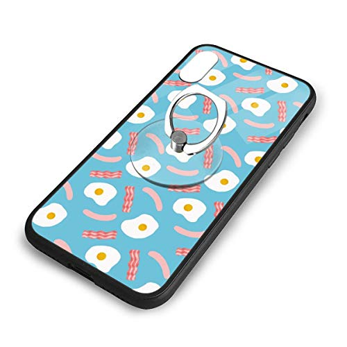 iPhone X Plus Cover Food Egg Case with Finger Ring Stand XS Phone Kickstand Holder Shock Protective Basic Protector