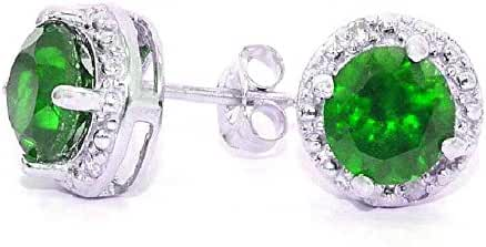 2 Ct Simulated Emerald & Diamond Round Stud Earrings .925 Sterling Silver Rhodium Finish