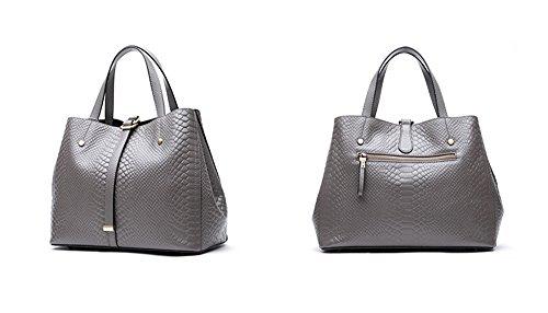 Xinmaoyuan Bolsos Mujer bolsos de Otoño e Invierno Commuter simple de la primera capa del bolso de cuero Bolso negro de gran capacidad,Paquete Gris