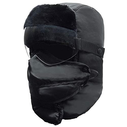 LEOED Men Winter Hats Windproof Trooper Trapper Hat Mask Goggles Ushanka Hat Earflaps Hunting Hat Outdoor Warm
