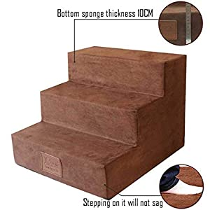 Dog Ramp for Bed Dog Steps for High Bed Pet Stairs Dog Stairs Pet Stairs Go to Bed Ladder Dog Mat Washable Suede Family… Click on image for further info.