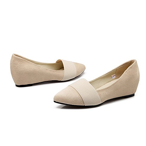 Closed Heels on WeenFashion Solid Kitten Suede Pumps Pointed Shoes Imitated Women's Toe Beige Pull gxqZEqv