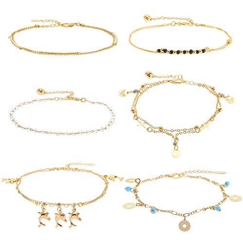 6 Pieces Beach Ankle Bracelets,14K Gold Plated Dainty Cute Tiny Foot Chain,Silver Beaded Adjustable Layered Anklets Boho Ankle Chains Foot Jewelry Set for Women Teen Girls (6pcs-Gold)