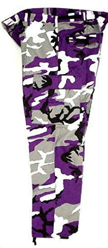 YOUTH Sports (Colors) Purple, Black & White Camouflage Pants (X-Large - Purple Camouflage Pants