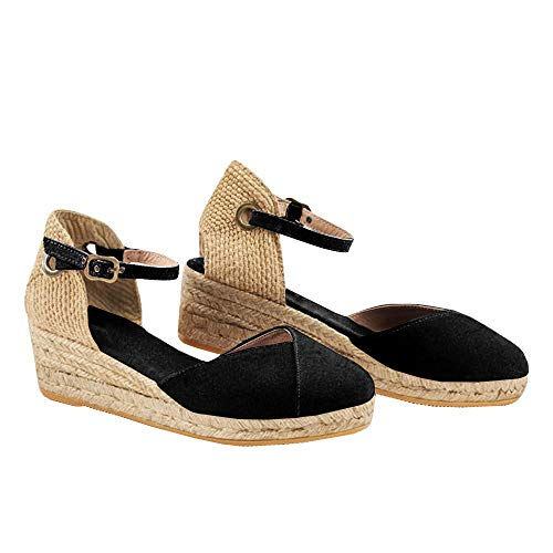 (Syktkmx Womens Espadrille Wedge Platform Sandals Ankle Strap Closed Toe Mid Heel Sandals)