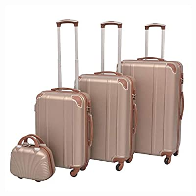 HomyDelight Suitcase, 4 Piece Hardcase Trolley Set Champagne