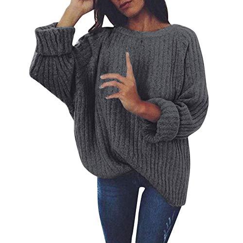 Foncé Pull Longue Loose Manteau En Casual Sanfashion Tricot Gris Pullover Hiver Col Femme Chaud Manche Sweat Rond axRnndp