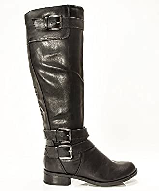 Soda Women's Doric Faux Leather Buckle Accent Knee High Riding Boots,Black,5.5