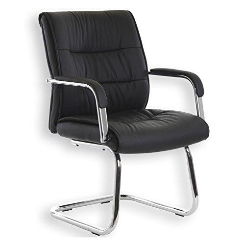 Besucherstuhl Konferenzstuhl CEDRIC, schwarzes Napalonleder, hochwertig verchromt, bequem gepolstert