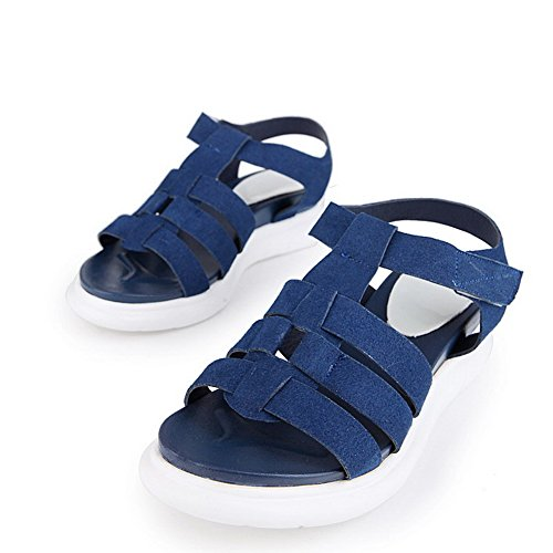 AllhqFashion Womens Open Toe Kitten Heels Solid Hook And Loop Sandals Blue orT9h0o6