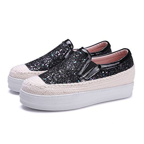 Mode Chaussure Roseg Cuir Sneakers Noir Plateau Brillant Baskets Femme Plateforme R8wAOq5wSU