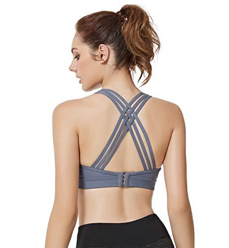 7aa754696a2 Yvette Criss Cross Back Sports Bras Strappy Workout Bra for Women