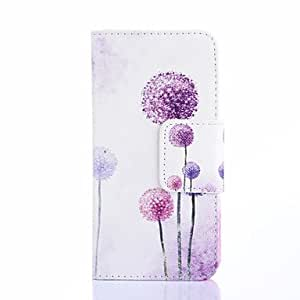 HJZ Purple Dandelion Pattern PU Leather Full Body Case with Card Slots And Stand Case for Samsung S4 Mini I9190