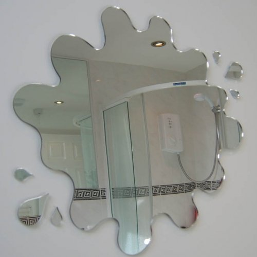 Super Cool Creations Puddle Mirror with Six Splash Mirrors 45cm x - Funky Small Mirrors Bathroom