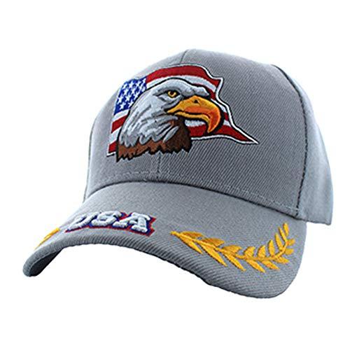 - American Patriotic USA Eagle Flag Baseball Adjustable Hat Cap Light Grey