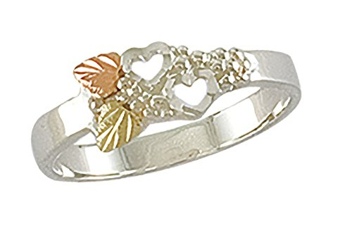 Landstroms Black Hills Gold Womens Heart Ring in Sterling Silver with 12k Gold Leaves - Size 6