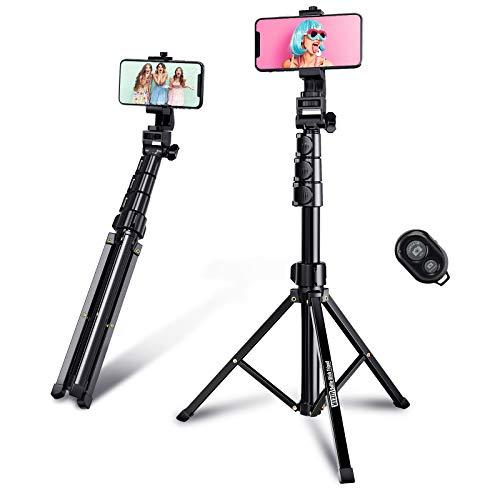"Selfie Stick Tripod, 59"" Phone Tripod Flexible Rotate Shooting Angle Bluetooth Remote for iPhone Android Go Pro DSLR…"