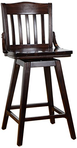Beechwood Mountain BSD-2BSW24-W Solid Beech Wood Kitchen and Dining Swivel Counter Stool, Walnut