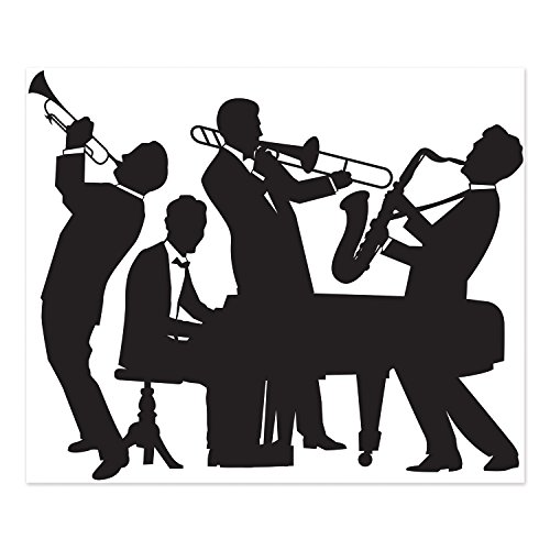 Beistle 52178 Great 20's Jazz Band Insta-Mural, 5' x 6' Party Decorations, Black/White ()